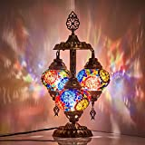 DEMMEX 2019 Stunning 3 Globe Turkish Moroccan Bohemian Table Desk Bedside Night Lamp Light Lampshade with North American Plug & Socket, 19 Inches (Top Mix) Review