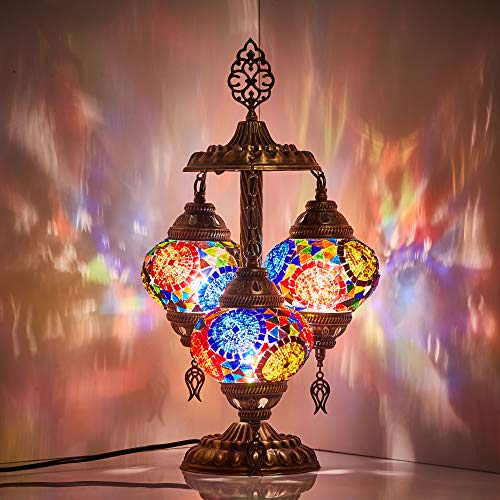DEMMEX 2019 Stunning 3 Globe Turkish Moroccan Bohemian Table Desk Bedside Night Lamp Light Lampshade with North American Plug & Socket, 19 Inches (Top Mix) (Lamps Talavera)