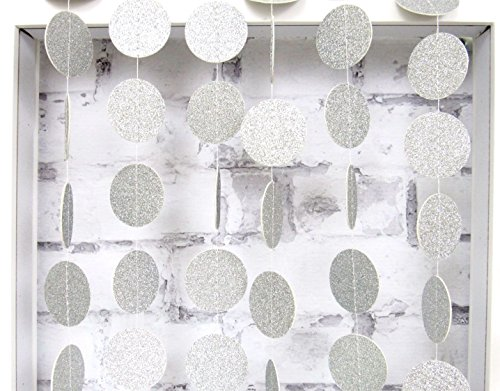 My Lifestyle 26Ft Set of 2 Circle Dots Paper Garland for Room Party Decorations Backdrop - (Silver,Glitter)