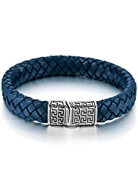 MOWOM Silver Tone Blue Stainless Steel Genuine Leather Bracelet Bangle Cuff Greek Braided