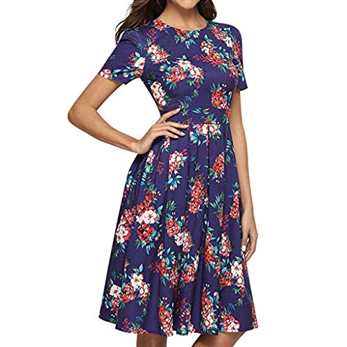WEISUN Womens Knee Dress Casual Rose Print O-Neck Short Sleeve Dress Summer Beach Mini Dress Sale Today