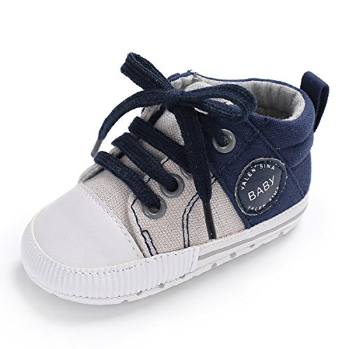 Tutoo Unisex Baby Boys Girls Soft Anti-Slip Sole Sneakers Newborn Intant First Walkers Canvas Denim Shoes (6-12 Months, A-Blue) by Tutoo
