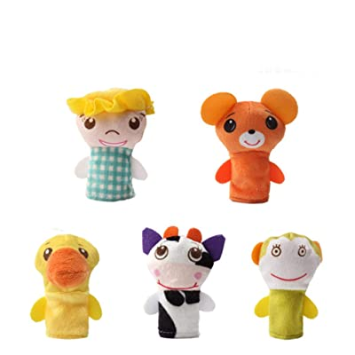 NUOBESTY 5pcs Animal Finger Puppet Plush Cartoon Hand Puppet Role Play Toy for Kids Room Decor Gift Party Favors Sleep Story Time Toy (Pattern 1): Health & Personal Care