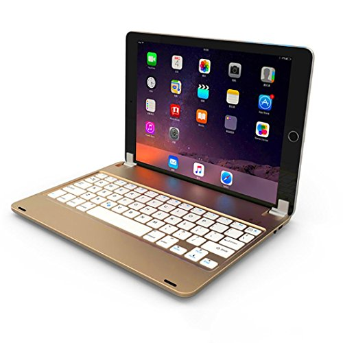 "Price comparison product image Apple iPad Bluetooth Keyboard,Sunfei Wireless Bluetooth Keyboard Case for Apple iPad 5/iPad 6/iPad Pro 9.7"" (Gold)"