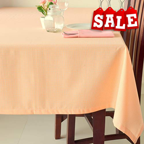 Poly-Cotton Linen Oblong Orange Tablecloth - Stain Resistant French Rectangular & Square Kitchen Table Cloth - Dinner Table Christmas New Year Eve Easter Dinner Gift (PEACH Checkered, Square 70