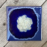 Geode Crackle Coaster in COBALT: Individual Coaster, Geode Coaster, Agate Coaster, Fused Glass Coaster, Crackle Glass Coaster, Dock 6 Pottery Coaster, Dock 6 Pottery, Kerry Brooks Pottery