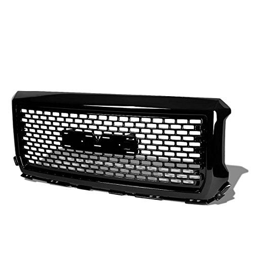 For GMC Sierra 1500 Glossy Black Square Mesh Style Front Upper Bumper Grille