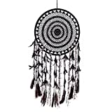 Caught Dreams Dream Catcher ~ Extra Large Black Crochet Boho, Hippie, Gypsy Style with Black 16 inch Diameter & 36 inches Long!