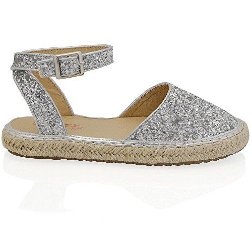 Glitter E Espadrilla Caviglia Cinturino Donna Con Argento Plateau Glam Essex TPqzvv