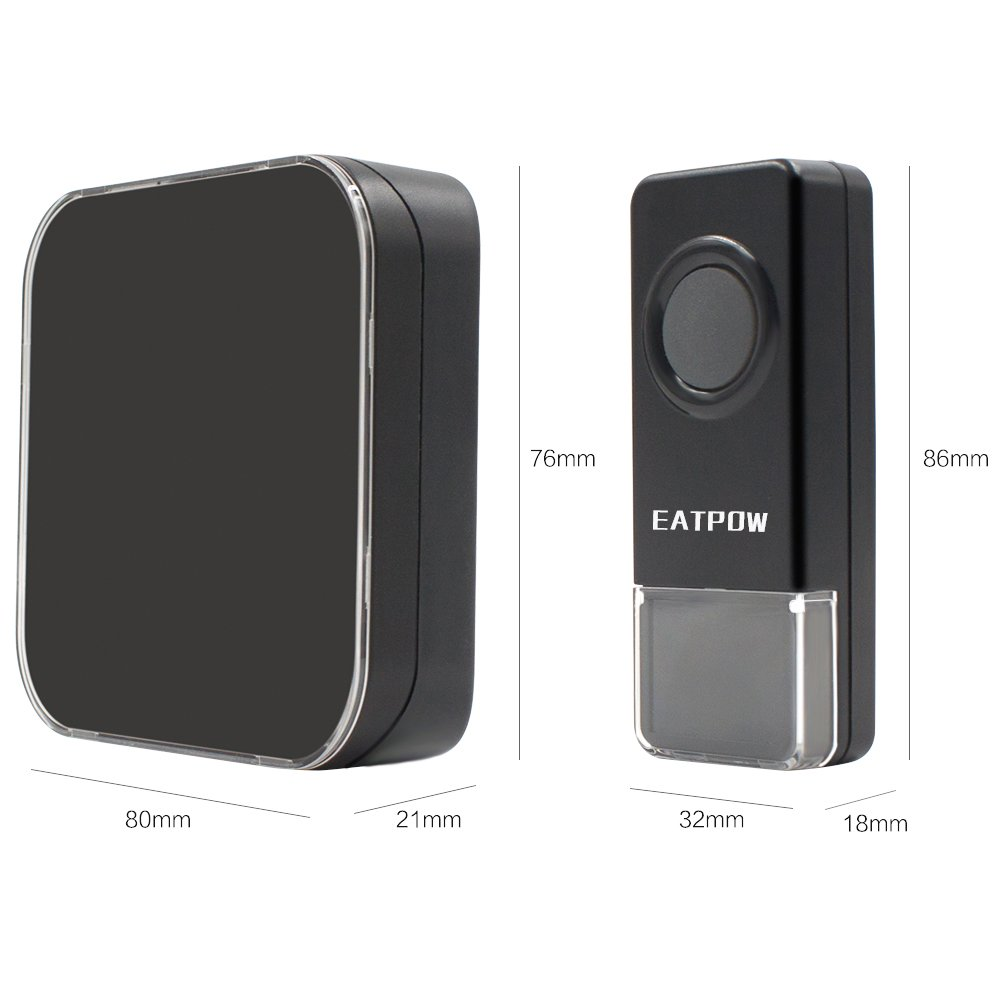 Wireless Doorbell,EATPOW Door Bell Chime Kit,1 Push Button /& 2 Plug in Receivers,Over 1000 Feet Operating Range with 4 Levels Volume and LED Flash 52 Melodies to Choose ET16