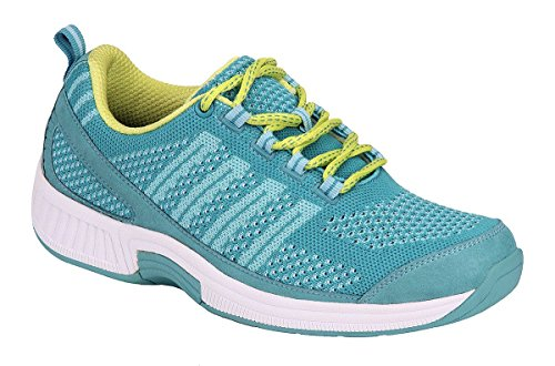 Orthofeet Comfort Plantar Fasciitis Shoes for Women Heel Pain Relief Arch Support Bunions Diabetic Athletic Sneakers Coral Turquoise (Shoes Women Wide Box Toe)