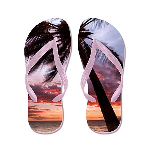 Cafepress Maui Hawaii Coconut Palm Tree Sunset - Infradito, Sandali Infradito Divertenti, Sandali Da Spiaggia Rosa