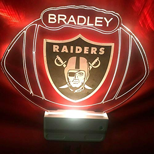 Oakland Raiders NFL Football Night Light Multi Color Personalized LED Plug-in, Ultra-Slim Cool-Touch Light with Smart Dusk to Dawn Sensor, Family Room Bedroom Kitchen Bathroom Hallway, Super Cool