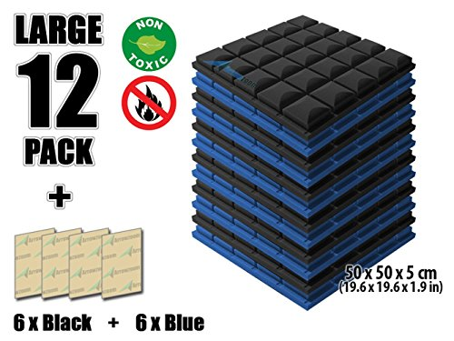 Arrowzoom New 12 Pack of Blue & Black (19.6 in X 19.6 in X 1.9 in) Soundproofing Insulation Mushroom Hemisphere Grid Type Acoustic Wall Foam Padding Studio Foam Tiles AZ1040 (BLUE&BLACK)