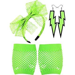 Blulu 80's Lace Headband Neon Earrings Fingerless Fishnet Gloves for 80's Party (Fluorescent Green)