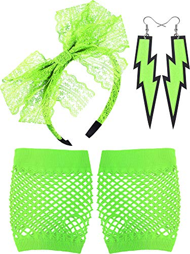Blulu 80's Lace Headband Neon Earrings Fingerless Fishnet Gloves for 80's Party (Fluorescent Green) for $<!--$8.99-->