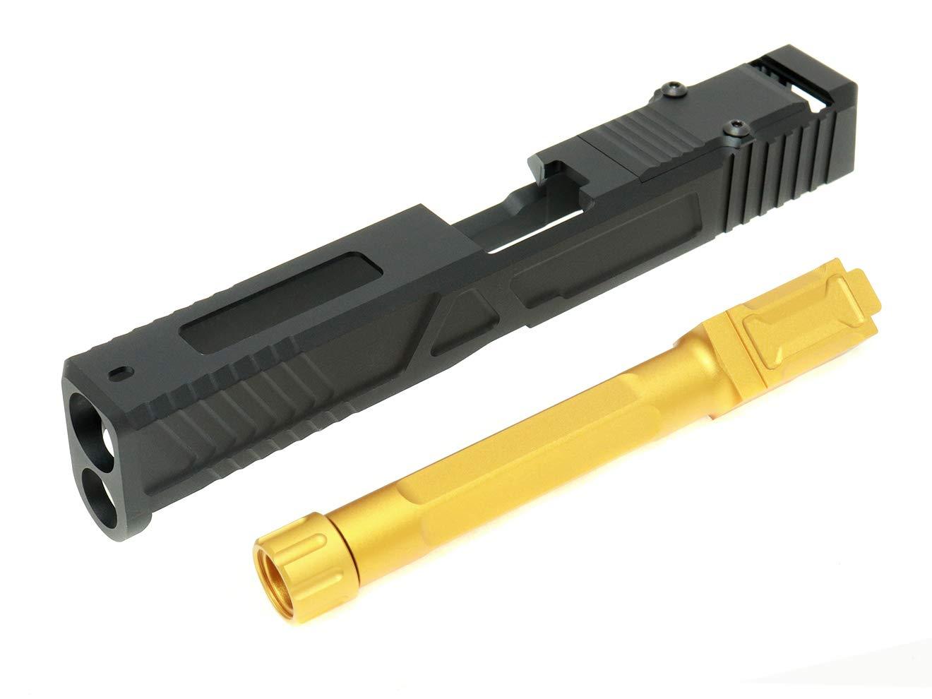 MITA アルミスライドCNC カスタムスライドキット RMR READY for VFC GBB G17 ブラック/ゴールド B07QM3W3Z8
