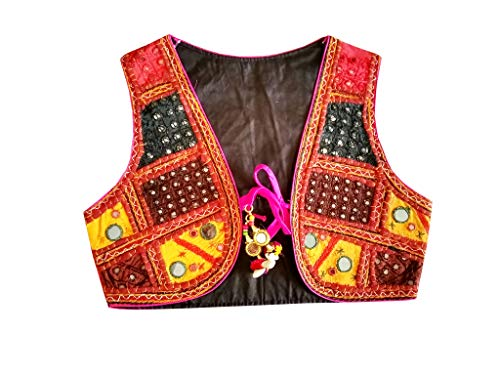 774a5b9e7f10 PULAA Women Cotton Boho Hippie Style Koti-Indian Embroidered Koti-Navratri  Special-Mirror Work Koti Black 38