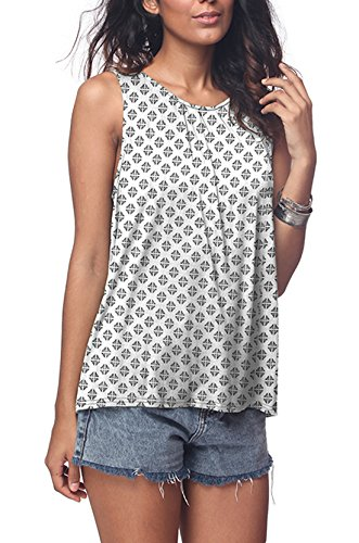 iGENJUN Women's Summer Sleeveless Pleated Back Closure Casual Tank Tops,MC13,L