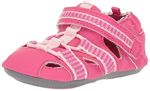 (Robeez Girls' Sandal-Mini Shoez Crib Shoe, Beach Break - Hot Pink, 9-12 Months M US Infant)