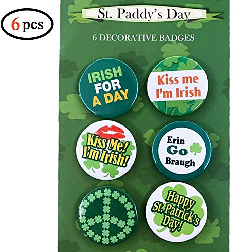 Volcanics St Patricks Day Irish Buttons Pins - Set of 6 Fun Buttons with Irish Sayings for Your Party, Parade or Celebration - Fun Decorations, Great for Hats and -