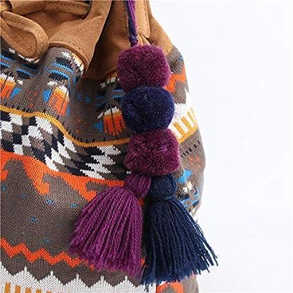 8*20cm Llavero de borla con dise/ño de pomp/ón de Nowbetter con rosca de m/últiples capas adornos para mujeres y ni/ñas Multicolor a bolsa de coche colgante de flecos llavero