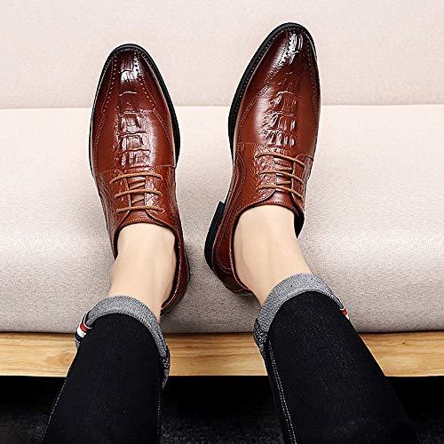 Hgdr Hombre Cordones Zapatos Informales Brown Derby Bronceado Formales Vestido Novia Oficina Genuino De Con Cuero Negro Negocios Para qf1Utxq