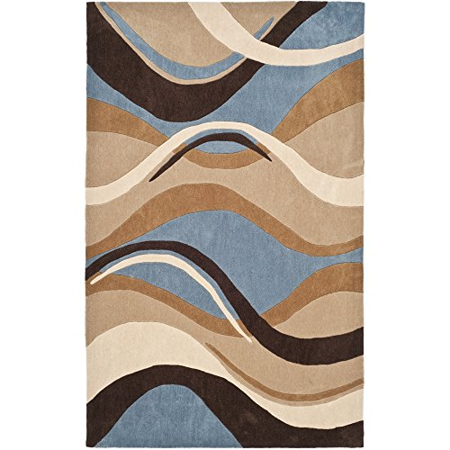 Contemporary Polyester Rug (Safavieh Modern Art Collection MDA617A Handmade Contemporary Abstract Waves Blue and Brown Polyester Area Rug (4' x)
