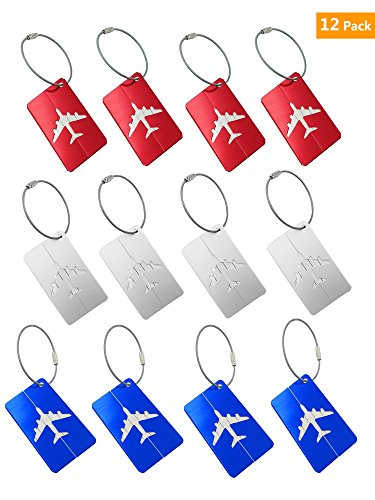 TopRover Aluminum Airplan Travel Luggage Bag Tags,Baggage Tag,12 pcs