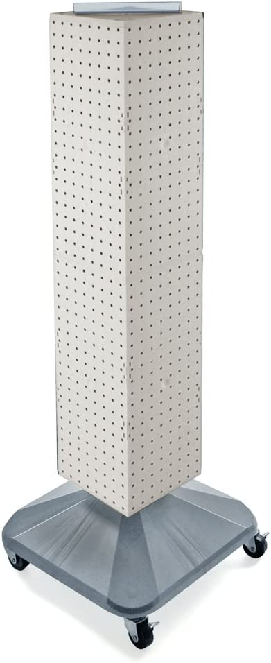 Azar Displays 703388-WHT Standard Four-Sided Interlocking Pegboard Tower, White Solid