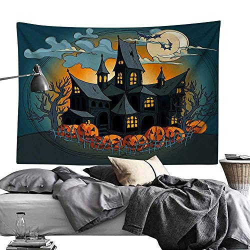 Bedroom Living Room Dormitory Tapestry Halloween Decorations Medieval Haunted House with Garden Full of Pumpkins and Dark Night Hippie Tapestry W70 x L59 Orange Teal]()