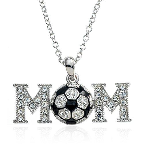 PammyJ Silvertone Crystal Soccer Mom Pendant Necklace, 17
