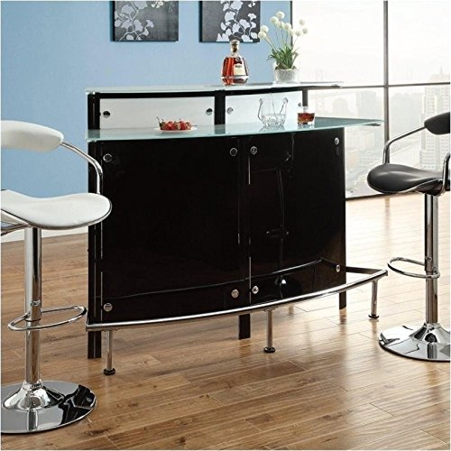 Coaster Contemporary Arched Black Bar Table with Frosted Glass Counter Tops