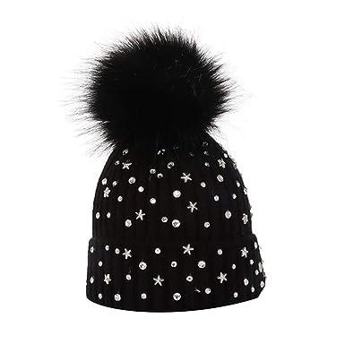 5a8f312b49f Leah Ward Kids Size Faux Fur Pom Pom Hat Girls Boys Cute Warm Fleeced Hats  (HA50231)  Amazon.co.uk  Clothing