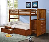 Mission Stairway Bunk Bed with T/F Extension Kit and Under-Bed Drawers