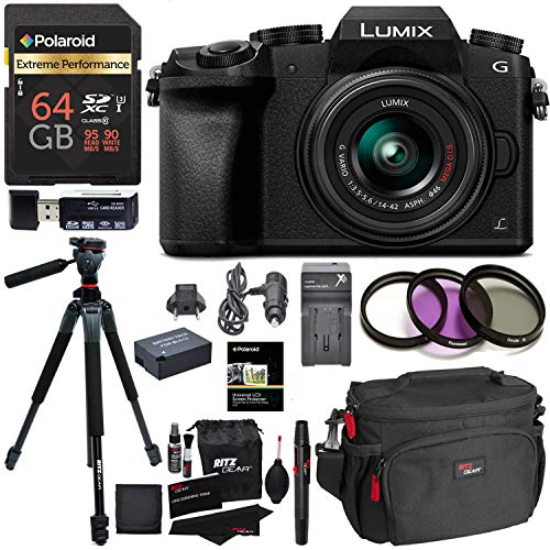 - Ritz Camera Panasonic DMC-G7KK Digital Single Lens Mirrorless Camera 14-42 mm Lens Kit 4K, Accessory Bundle, Polaroid 64GB, Polaroid 72