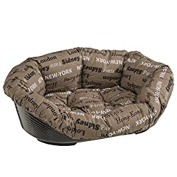 Ferplast 2 Cities Cat and Dog Bed Sofa, Brown