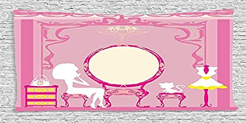 Cotton Microfiber Bathroom Towels Ultra Soft Hotel SPA Beach Pool Bath Towel Girly Collection Lady Sitting in front of French Cosmetic Make Up Mirror Furniture Dressy Design Picture Pink Yellow
