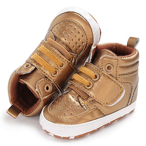 ee40da07d5f6 XJARRO xjarrogantqibi High Top Lace Up Baby Boy Girl Sports Prewalker Crib Shoes  Toddler Sneakers Golden