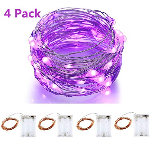 BINZET 6.54Ft Led String Light 50 LEDs Purple 3AA Battery Operated Copper Wire String Light Halloween,Christmas Holiday(4 Pack) ()