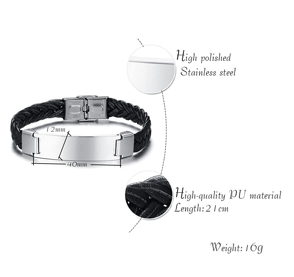 XUANPAI Handmade Stainless Steel Personalize Engraved Braided Lether Bracelets Identification Bracelet