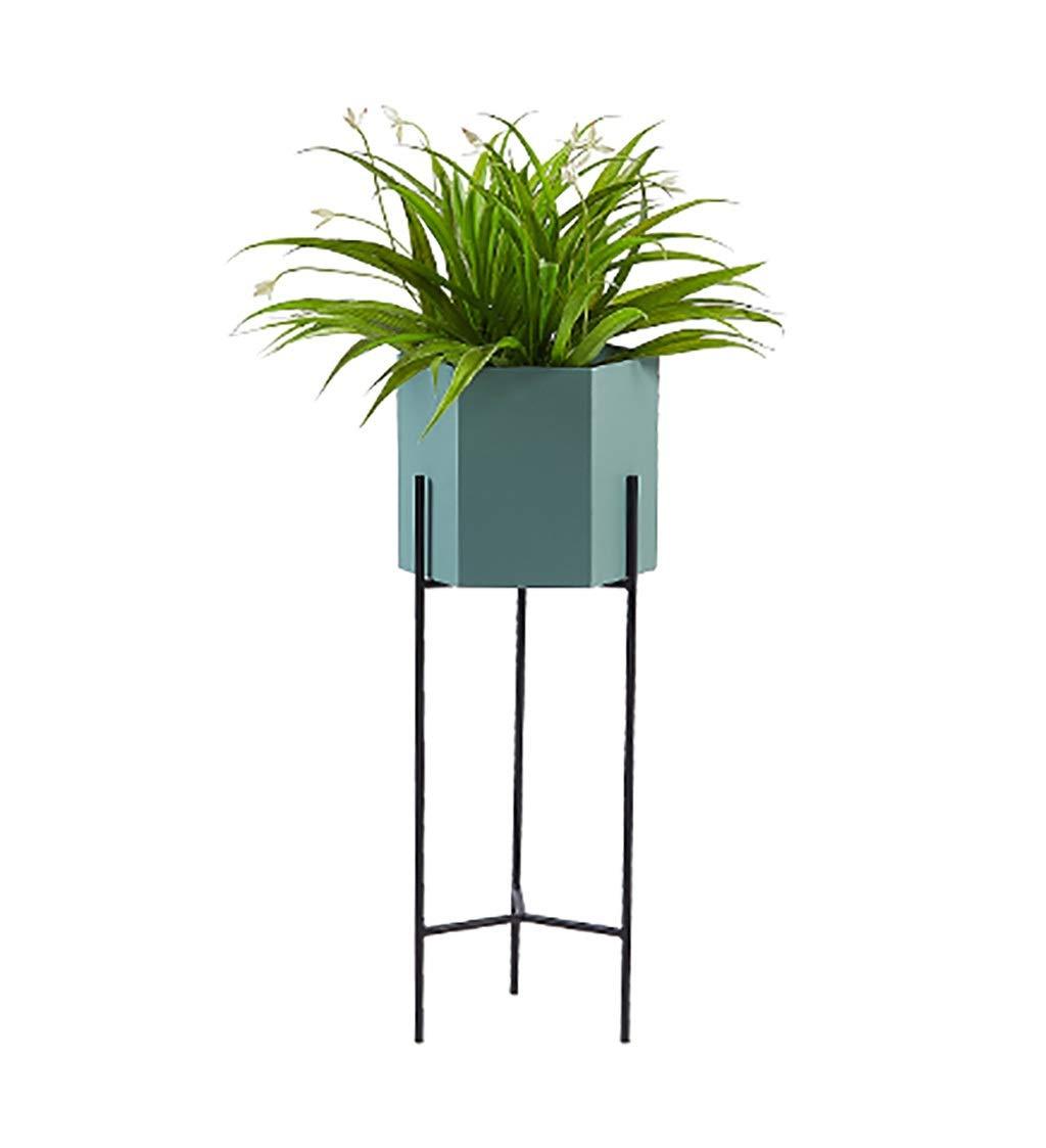 Flower Stand per Soggiorno, espositore per Piante Stile Nordico, Supporto per Fiori Decorativo in Metallo (Blu rosa) (colore   Blu, Dimensioni   60  23cm)