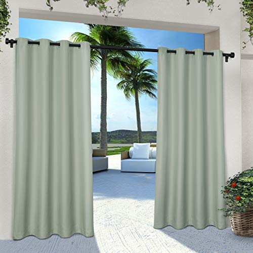 """Set of 2 108""""x54"""" Outdoor Solid Cabana Grommet Top Light Filtering Curtain Panel Light Green - Exclusive Home"""