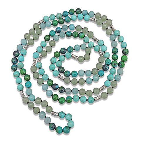 MGR 60 Inch 8MM Semi-precious Genuine Stone Long Endless Infinity Green Blue Toned Beaded Strand (Maya Turquoise Necklace)