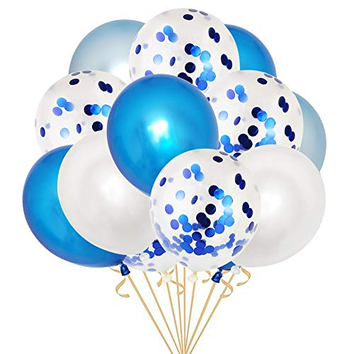 50 Pieces 12 Inches Blue and White Latex Party Balloons Blue Confetti Balloons Helium Balloons with 2 Curling Ribbons for Baby Bridal Shower,Birthday, Wedding, Proposal Party Decorations, Colorful ()