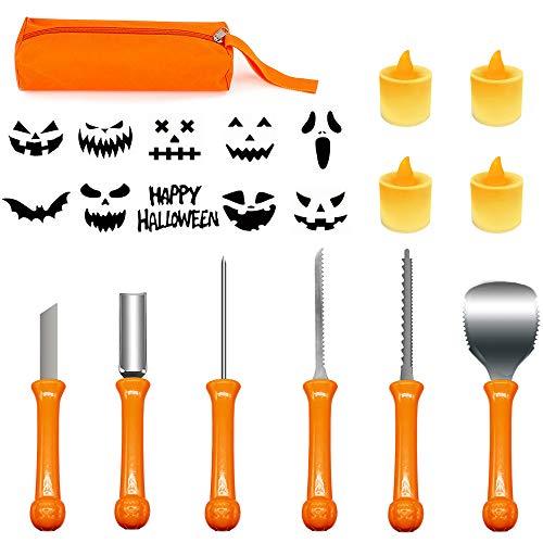 Halloween Pumpkin Carving Kit, 6pcs Carving Tools Set with 4 Pumpkin LED Lights and Storage Bag, Professional Pumpkin Carving Set with 10 Stencils for DIY Perfect Jack-o-Lantern