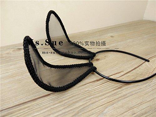 (usongs New custom delicate lace black silk yarn rabbit ears headband party bunny headdress)