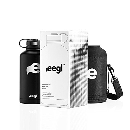 eegl Stainless Steel Insulated Beer Growler - 64 oz Water Bottle - Includes Carry Case - Double Wall Vacuum Sealed Wide Mouth Design. Five Year Guarantee! Perfect Temperature Control from by eegl (Image #5)