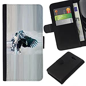 KingStore / Leather Etui en cuir / Sony Xperia M2 / Cuervo Cuervo Acuarela Eagle Wings