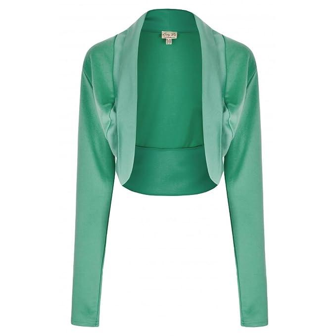 Bolero superior con mangas largas de color verde pastel - vintage, 50s, Rockabilly -